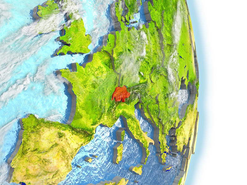 Zwitserland in rood ter wereld vector illustratie