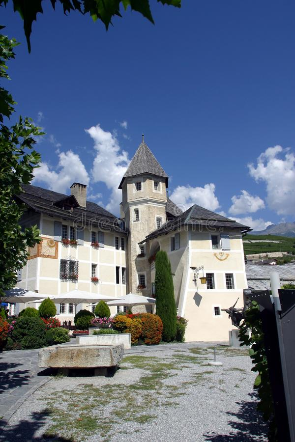 Zwitserland, Valais, Sierre, Villakasteel royalty-vrije stock fotografie