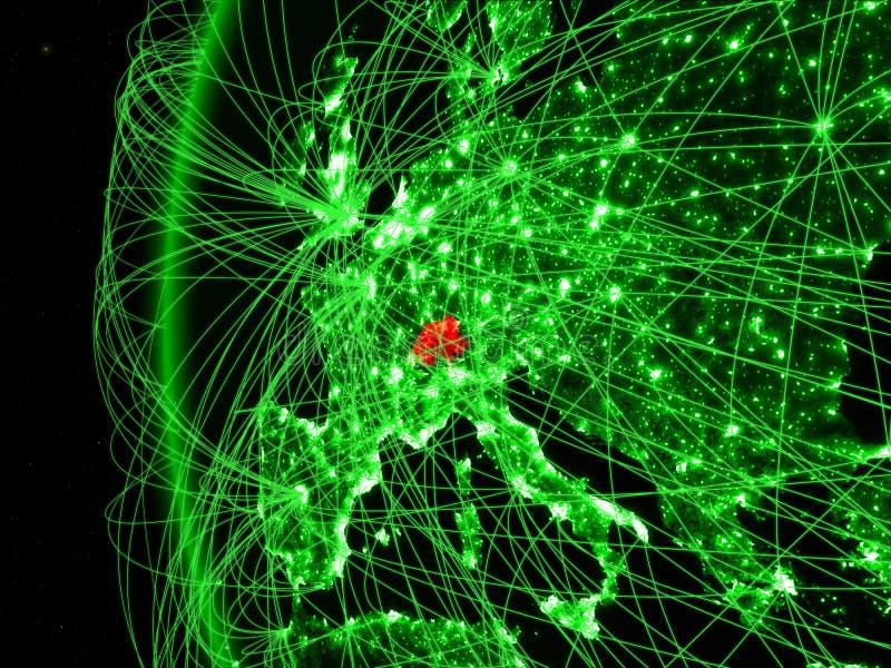 Zwitserland van ruimte op groen model van Aarde met internationale netwerken Concept groene mededeling of reis 3d stock afbeeldingen