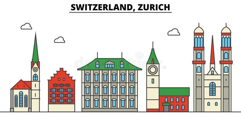 Zwitserland, Zürich De architectuur van de stadshorizon editable royalty-vrije illustratie