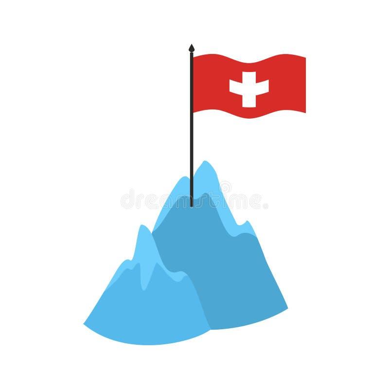 Zwitsers de Bergenpictogram van Alpen Hoge klippen en sneeuw Zwitserse vlag vector illustratie