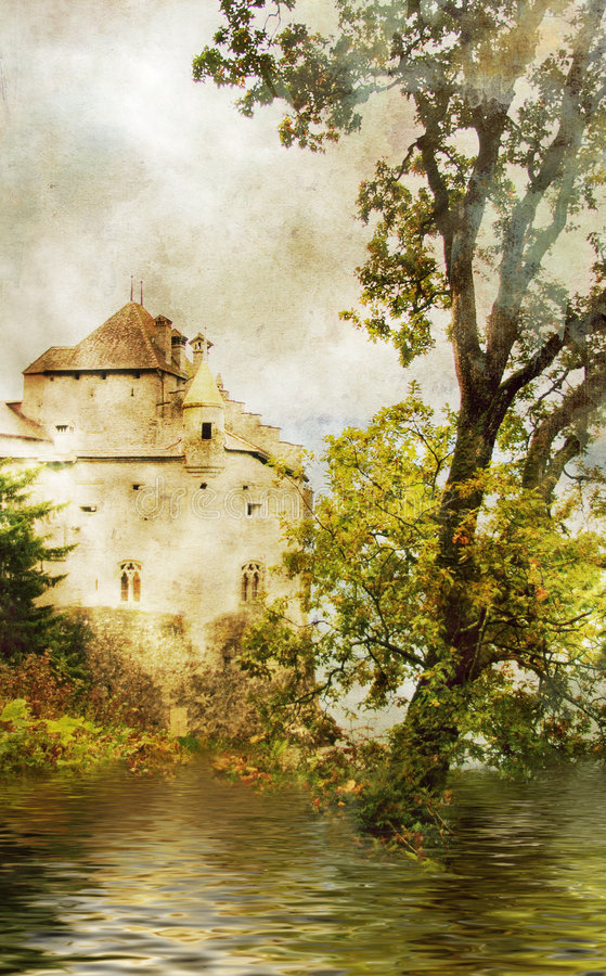 Zwitsers kasteel stock afbeelding