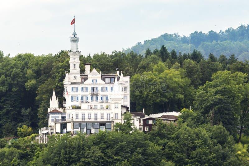 Zwitsers kasteel in het hout stock foto