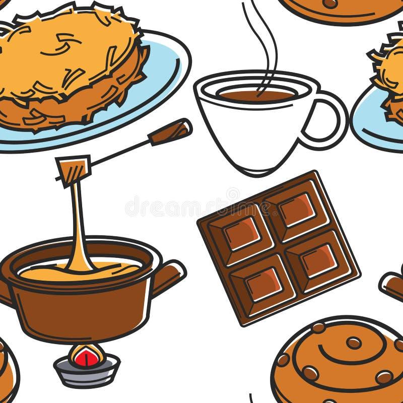 Zwitsers keuken traditioneel voedsel en drank naadloos patroon stock illustratie