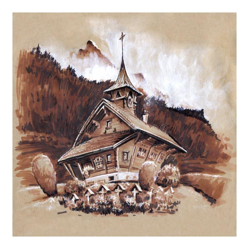 Zwitserse dorpskerk, Zwitserland royalty-vrije illustratie