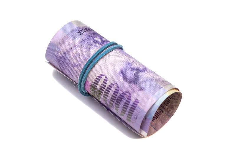 Zwitserse duizend franken in een broodje royalty-vrije stock afbeelding