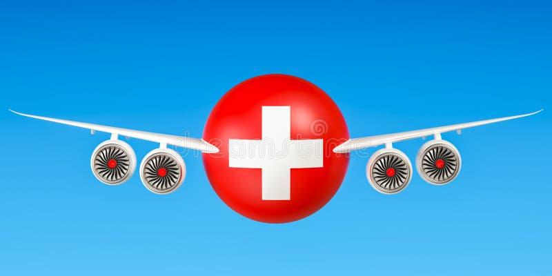 Zwitserse luchtvaartlijnen en het vliegen ` s, vluchten aan het concept van Zwitserland 3d royalty-vrije illustratie