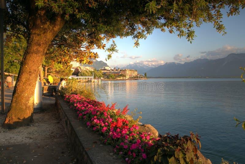 Zwitserse riviera, Montreux stock foto's