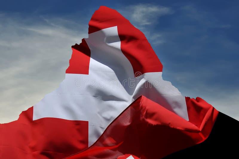 Zwitserse vlag op matterhorn royalty-vrije stock afbeeldingen