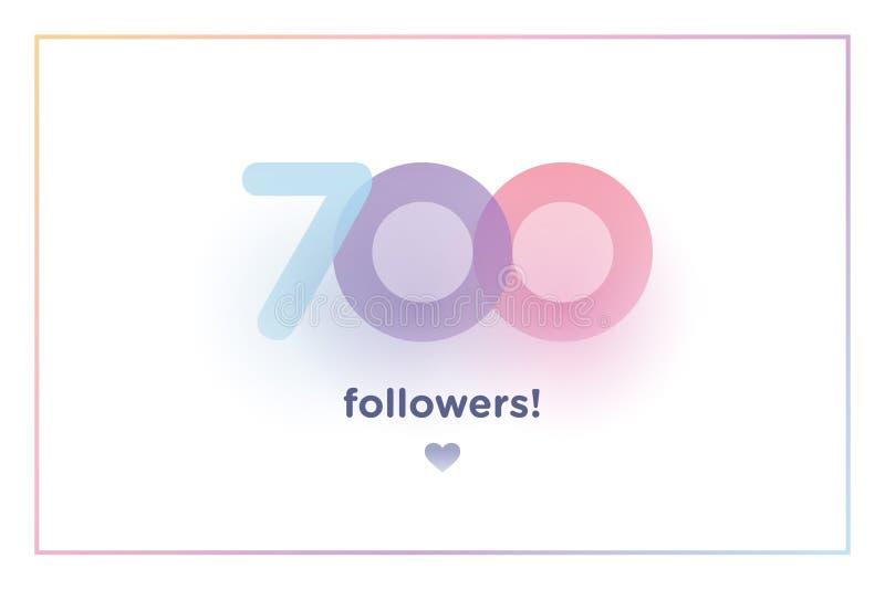 700, zwolennicy dziękują was kolorowa tło liczba z miękkim cieniem Ilustracja dla Ogólnospołecznych sieć przyjaciół, zwolennicy,  ilustracji