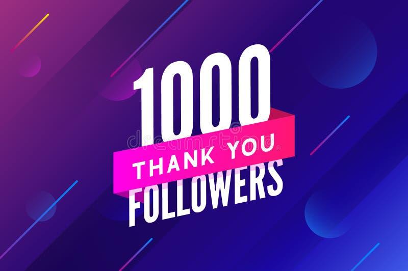 1000 zwolenników Wektorowych Powitanie socjalny karta dziękuje ciebie zwolennicy Gratulacje zwolennika projekta szablon royalty ilustracja