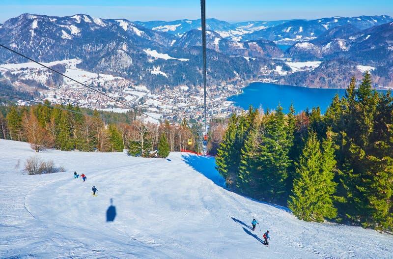 Zwolferhorn air lift ride, St Gilgen, Salzkammergut, Austria royalty free stock photo