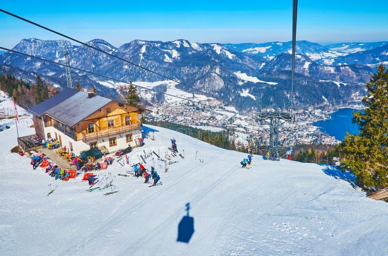 Zwolferhorn mountain cafe, St Gilgen, Salzkammergut, Austria royalty free stock photos