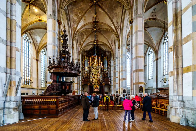 Interior of the 13th century romanesque St. Michael`s Church in Zwolle royalty free stock photos