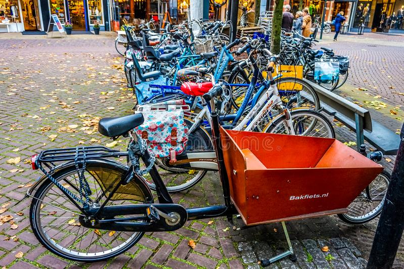 Lots of different types of Bikes parked in downtown Zwolle royalty free stock image
