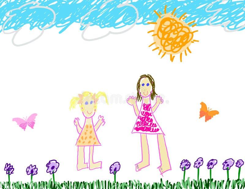 zwracając się dziecko poza s royalty ilustracja