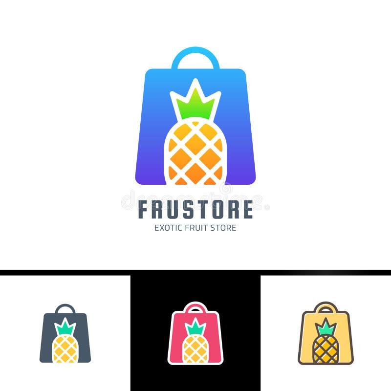 Zwrot Świeże owoc Karta z kobiety torbą dekorował z paskami i ananasem odizolowywającymi na białym tle Tekst na etykietce royalty ilustracja