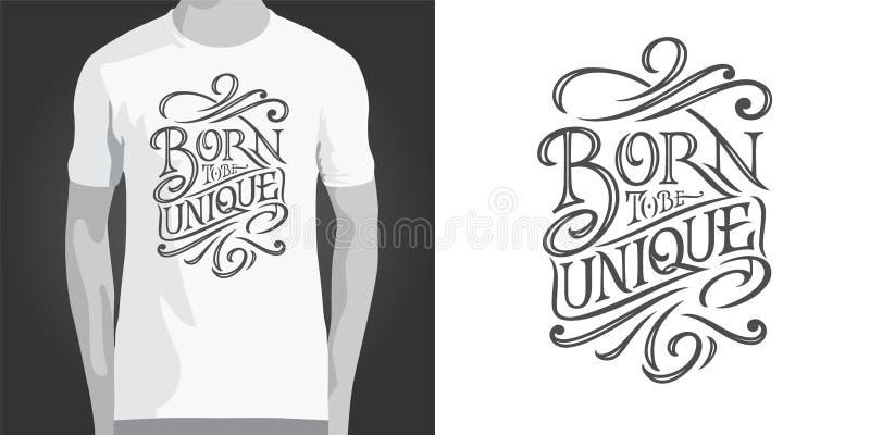 Zwrot URODZONY BYĆ UNIKALNY na białym odosobnionym tle dla projekta odziewa i drukujący projekt Motywować inskrypcję ilustracja wektor