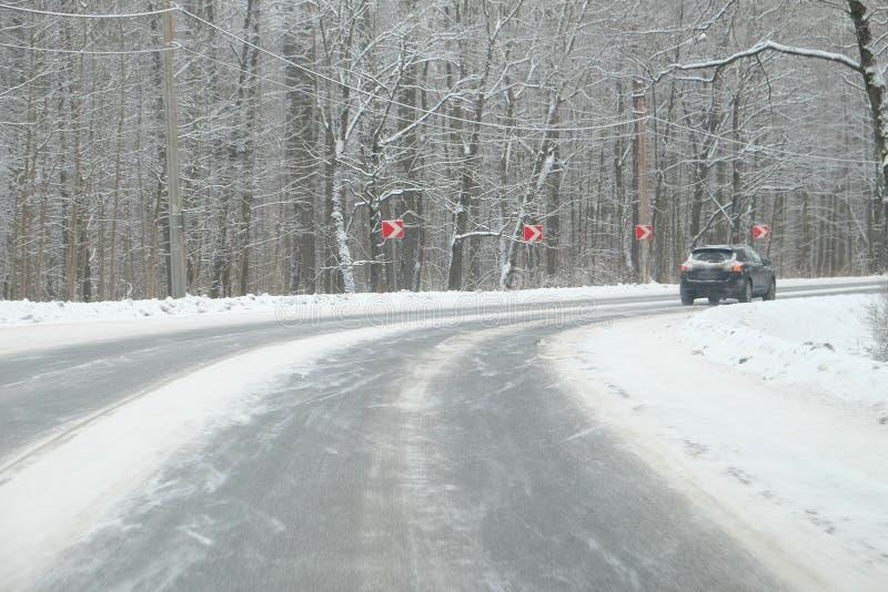 Zwrot zimy drogi zdjęcie royalty free
