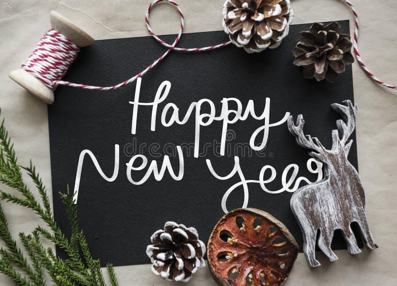 Zwrota Szczęśliwy nowy rok na blackboard zdjęcie stock