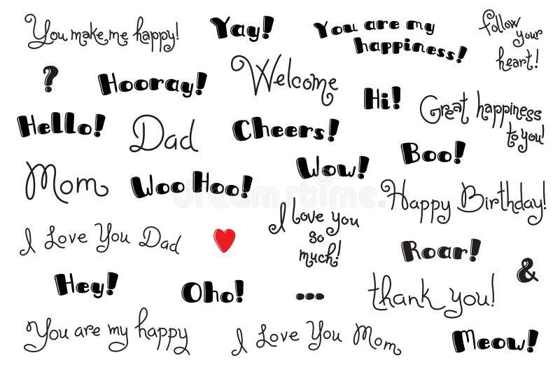 Zwroty, wykrzykniki i okrzyków słowa dla dla pokrywy, plakat, koszulka Kartka z pozdrowieniami teksta szablony kreskówki serc bie ilustracji