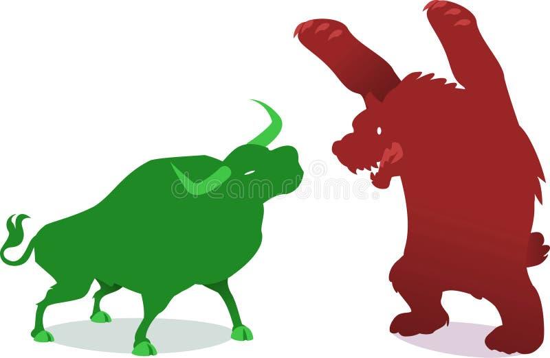 Zwyżkowy vs borsukowaty finansowy gospodarka biznes royalty ilustracja