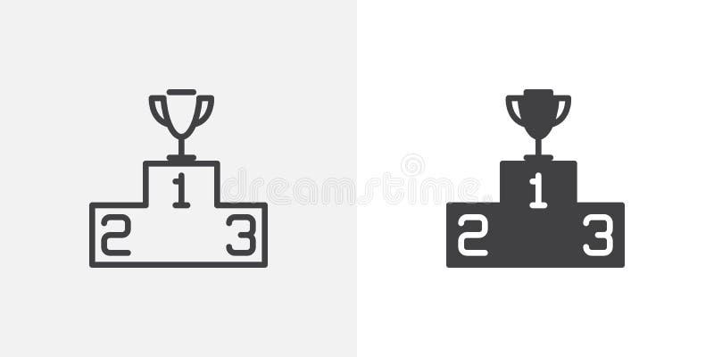 Zwycięzcy podium z trofeum ikoną ilustracja wektor