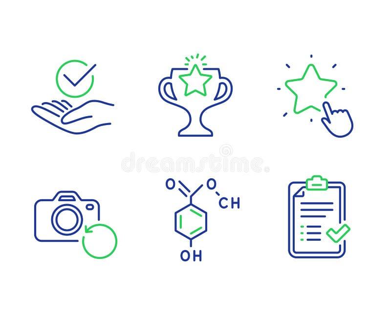 Zwycięstwo, Chemiczna formuła i ranking gwiazdowe ikony ustawiać, Zatwierdzona, wyzdrowienie fotografia, i Zatwierdzeni lista kon ilustracji