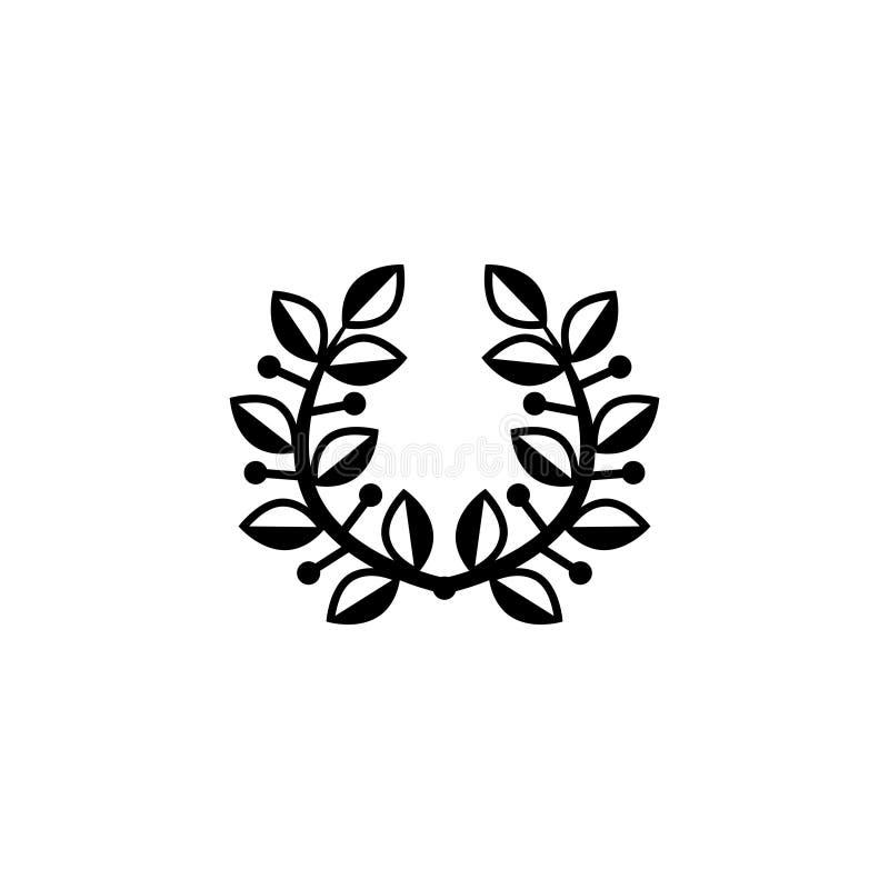 Zwycięstwo Laurowego wianku Płaska Wektorowa ikona royalty ilustracja