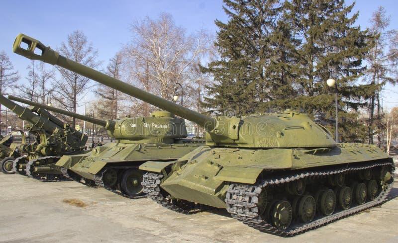 Zwycięstwo park Próbki militarny wyposażenie wielka Patriotyczna wojna zdjęcie stock