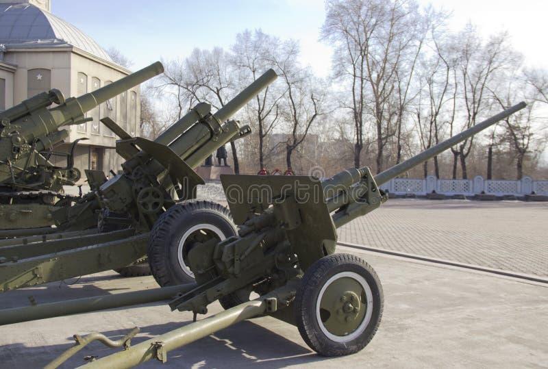 Zwycięstwo park Próbki militarny wyposażenie wielka Patriotyczna wojna zdjęcia royalty free