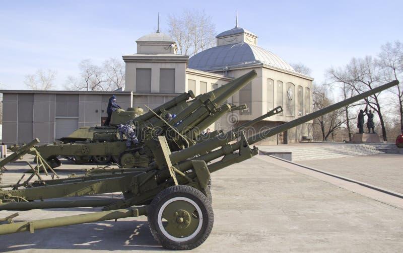 Zwycięstwo park Próbki militarny wyposażenie wielka Patriotyczna wojna zdjęcie royalty free
