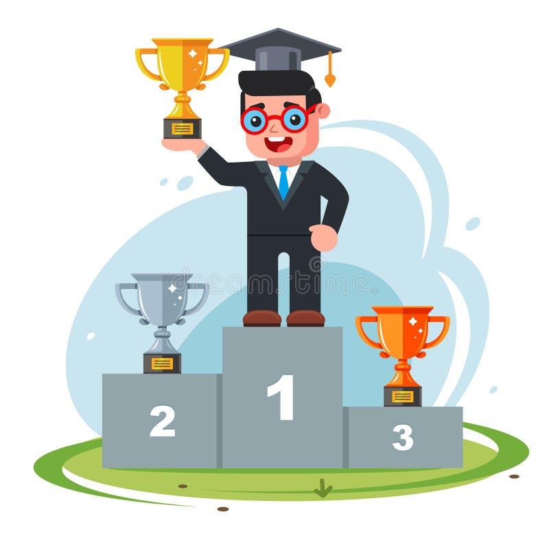 Zwycięstwo w konkursie mężczyzn zajmij pierwsze miejsce na podium mądrego faceta z kapeluszem i okularami ilustracja wektor