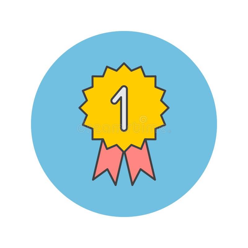 Zwycięzca cienka kreskowa ikona, medal wypełniał konturu loga wektorowego illustra royalty ilustracja
