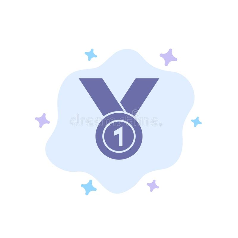 Zwycięzca, Dokonuje, Nagradza, lider, medal, faborek, Wygrywa Błękitną ikonę na abstrakt chmury tle ilustracja wektor