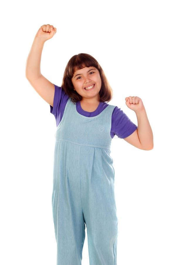 Zwycięzca dziewczyny odświętność coś i dźwiganie ona ręki zdjęcie royalty free