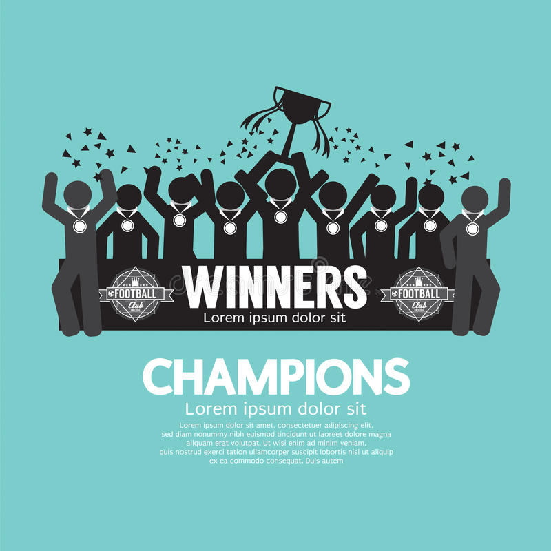 Zwycięzca filiżanki futbolu lub piłki nożnej mistrzowie ilustracji
