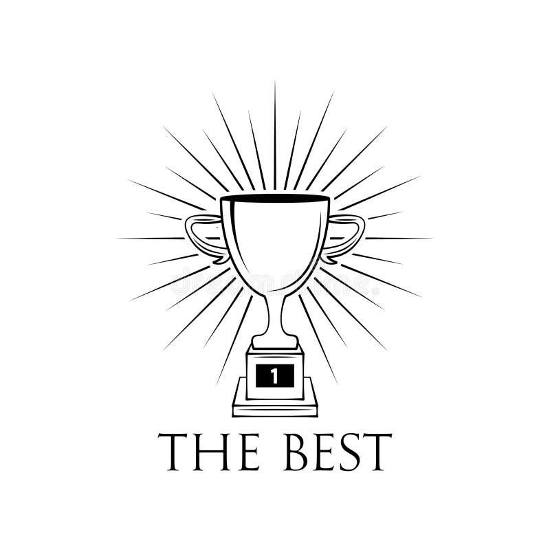 Zwycięzca filiżanki płaska ikona z promieniami wektor royalty ilustracja