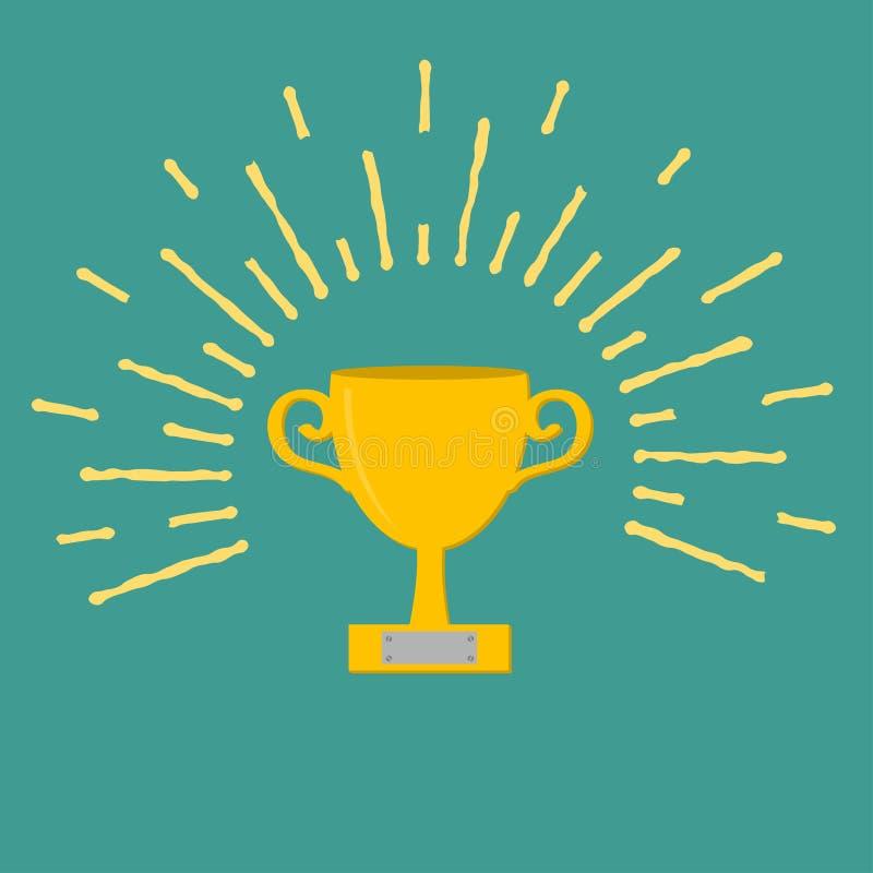 Zwycięzca filiżanki złocisty trofeum Nagroda symbol w mieszkaniu ilustracja wektor