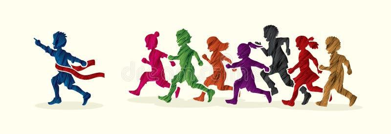 Zwycięzca grupa dzieci biega maraton, chłopiec i dziewczyna, bawić się wpólnie royalty ilustracja