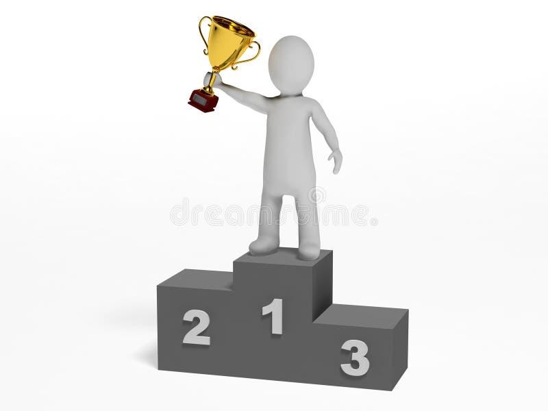Zwycięzca na podium ilustracja wektor