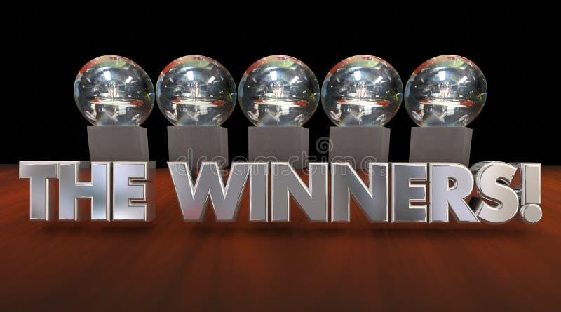 Zwycięzca nagród trofeów rywalizaci zawiadomienie royalty ilustracja