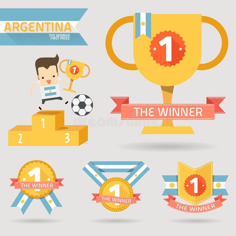 Zwycięzca pierwsza nagroda z Argentina flaga royalty ilustracja