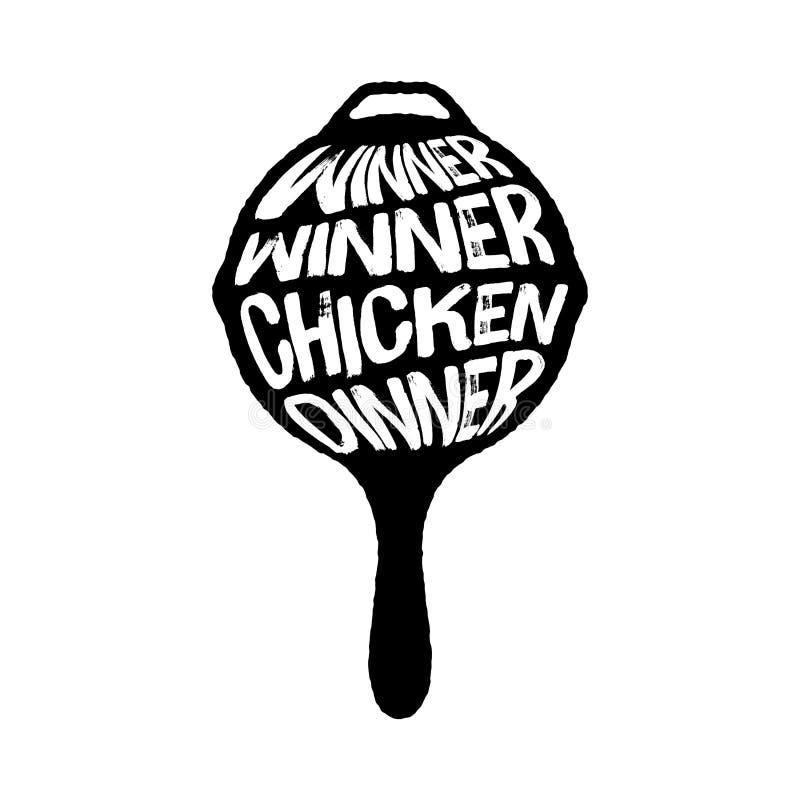 Zwycięzcy zwycięzcy kurczaka Obiadowa typografia na niecki wektorowej ilustracji, Playerunknown pole bitwy wektorowa ilustracja,  ilustracji