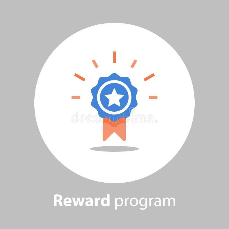 Zwycięzcy medal, nagroda program, pierwszy miejsce, wygrywa super nagrodę, osiągnięcie i osiągnięcia pojęcie, zarabia punkty, pła ilustracja wektor
