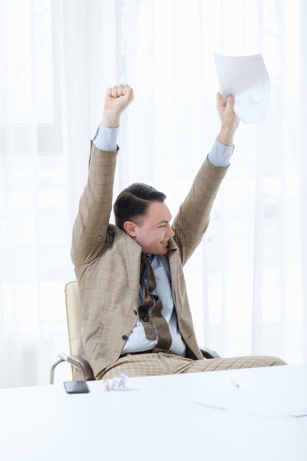 Zwycięzcy mistrza zwycięstwa sukcesu biznesowy mężczyzna szczęśliwy obraz stock