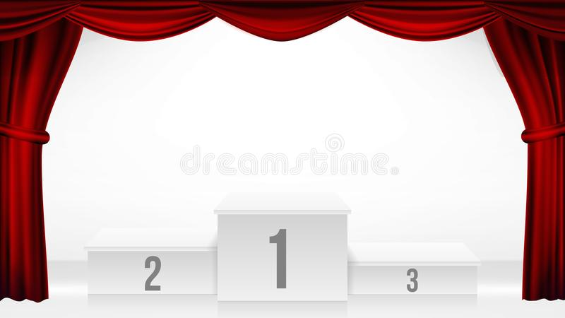 Zwycięzcy podium, teatr zasłony wektor Nagrody ceremonii piedestał Biała scena peron jest pusta Trofeum miejsce rywalizacja ilustracja wektor