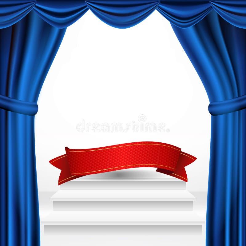 Zwycięzcy podium, teatr zasłony wektor Nagrody ceremonii piedestał Biała scena peron jest pusta Trofeum miejsce rywalizacja royalty ilustracja