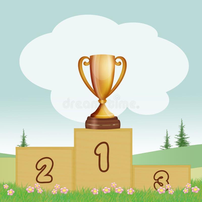 Zwycięzcy ` s filiżanka na podium ilustracji