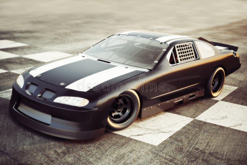 Zwycięzcy s okrąg, samochód wyścigowy pozujący przy w kratkę metą zdjęcia stock